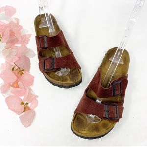 Birkenstock Betula Maroon Leather Two Strap Shoes